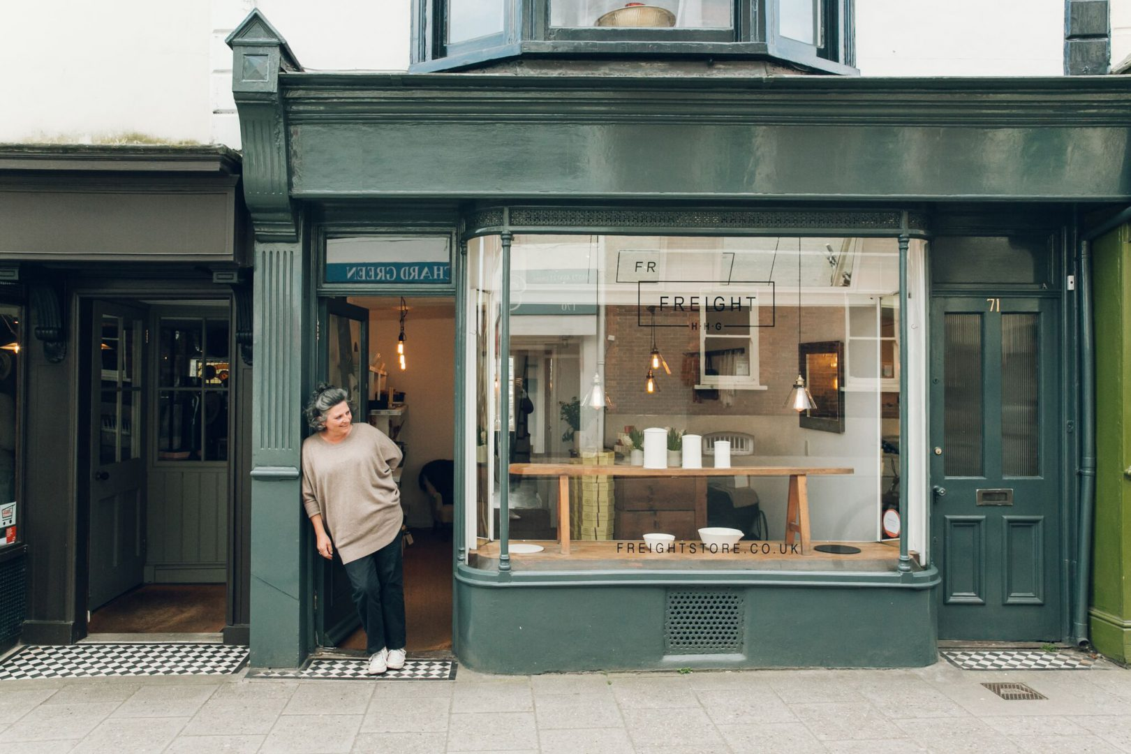 Freight's characterful green shopfront
