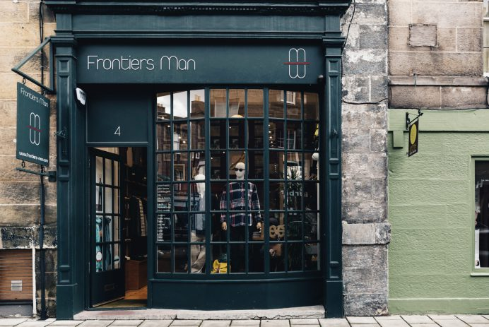 The shop front of Edinburgh boutique Frontiers Man