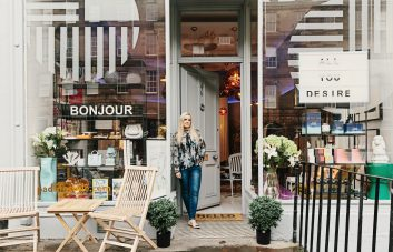 The shop front of Pad Lifestyle with founder, Anna Atwal.