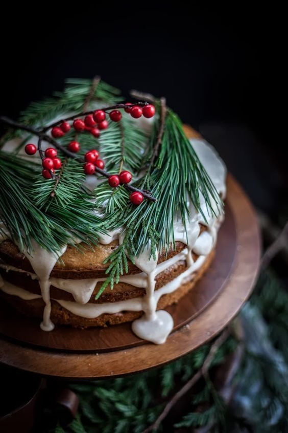 Christmas cake on wooden cake stand