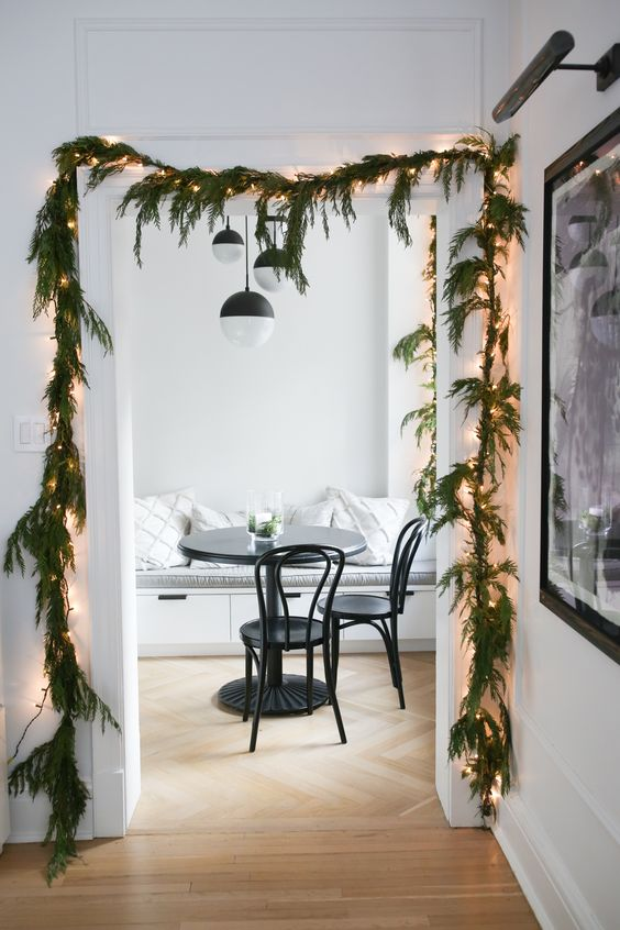 Doorframe with garland