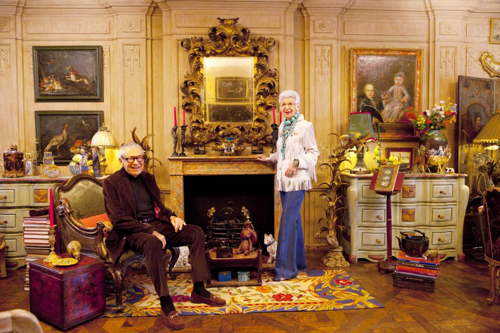 Iris Apfel and her late husband Carl in their New York home