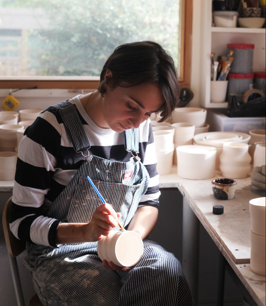 Hannah Bould working in her studio